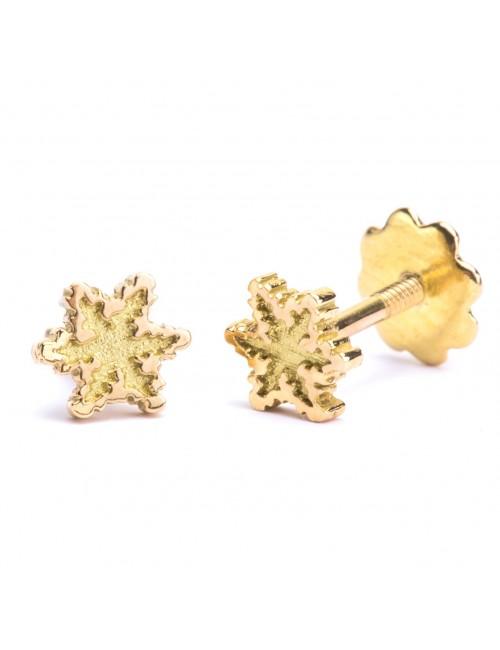 Pendientes Eguzkilore para Bebé en oro amarillo con rosca