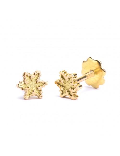Pendientes de bebé en Oro Amarillo Eguzkilore con rosca