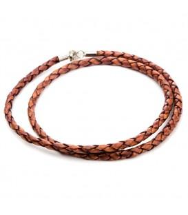 Collar trenzado marrón