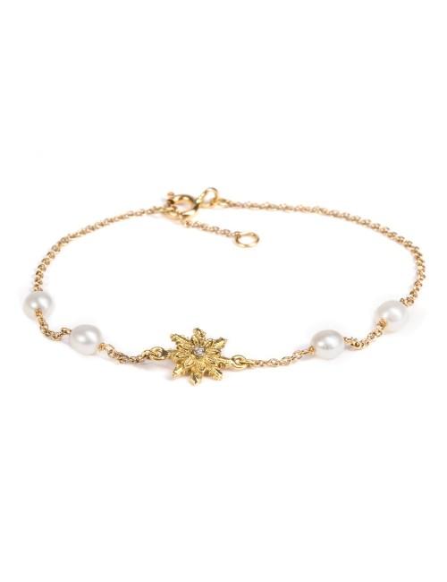 Pulsera Eguzkilore de Oro con Perlas Cultivadas y Diamante
