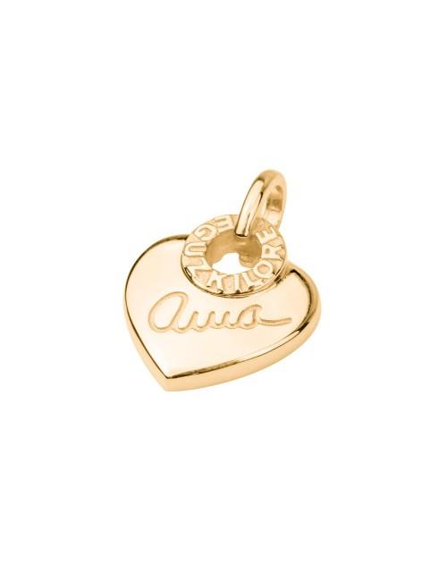 Colgante Ama Corazón de Plata Dorado Personalizable