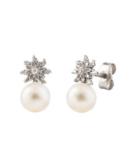Pendientes Eguzkilore Perla cultivada Oro Blanco y Diamante