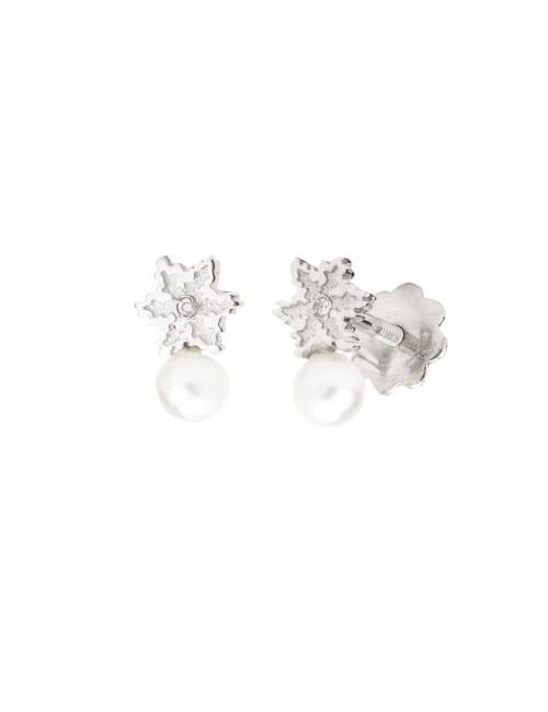 Pendientes de bebé Eguzkilore y Perla en oro blanco y diamante