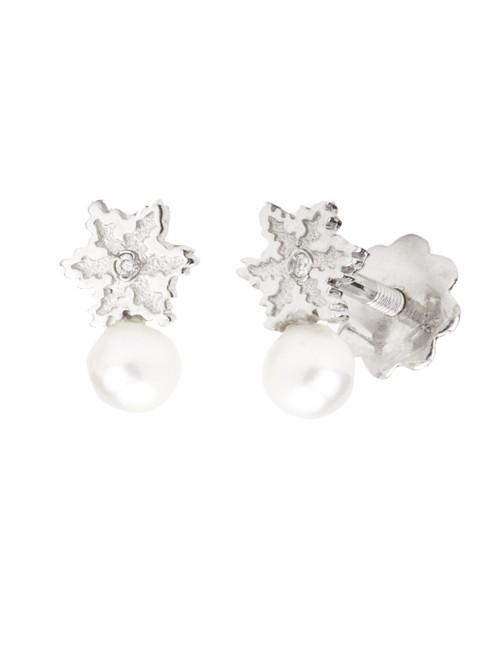 Pendientes Eguzkilore Oro Blanco Perla y Diamante con rosca