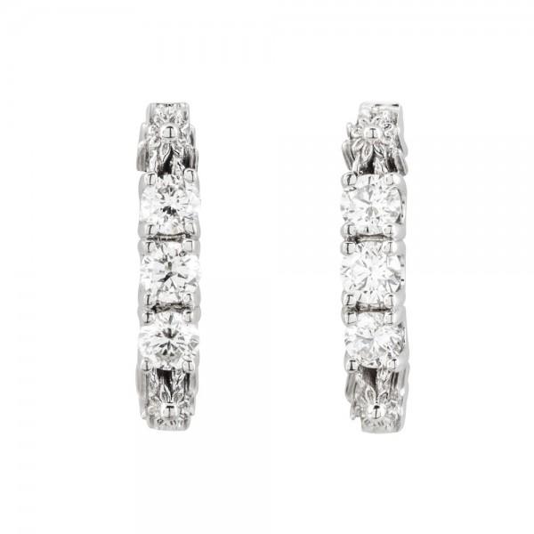 Pendientes De Aro Eguzkilore De Oro Blanco Con Diamantes