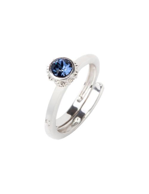 Anillo Distira de plata y cristal de Swarovski azul