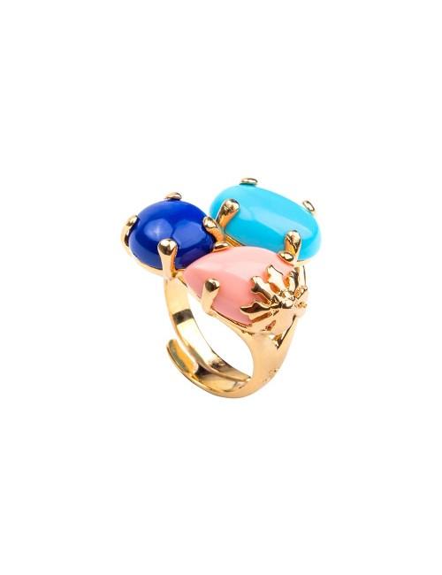 Anillo Rania de plata dorada con piedras azules y rosa