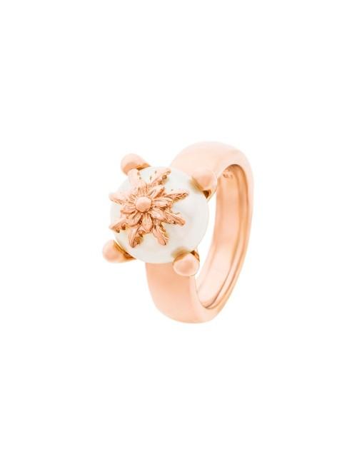 Anillo Perla Cultivada y Eguzkilore de plata rosa