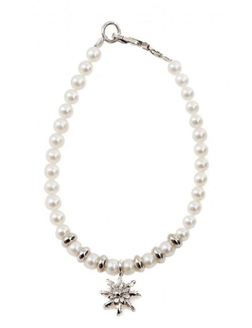 Pulsera infantil de perlas y plata