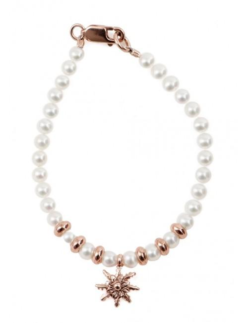 Pulsera infantil de perlas y plata-cobre