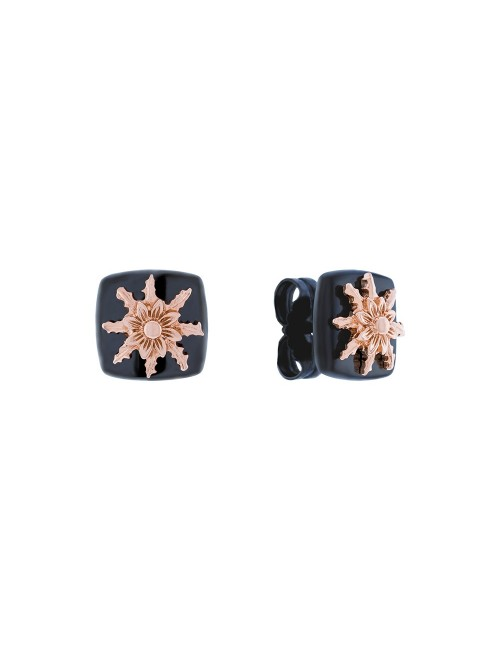 Pendientes Q2 de Plata Negra con Eguzkilore en Plata Rosa