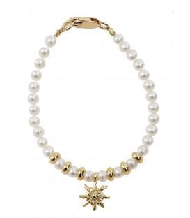 Pulsera infantil de perlas y dorado Eguzkilore