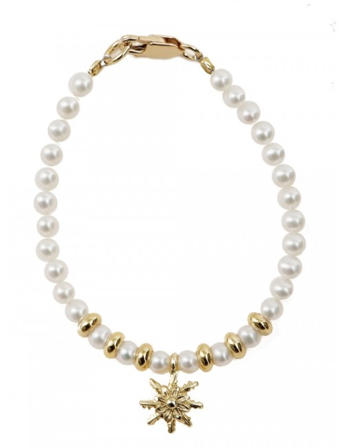 Pulsera infantil de perlas y plata-dorado