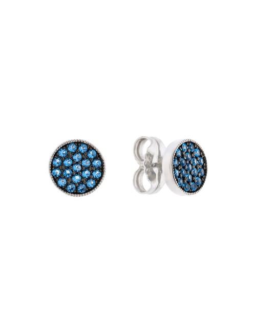 Pendientes Redondos en Plata y piedras Azules