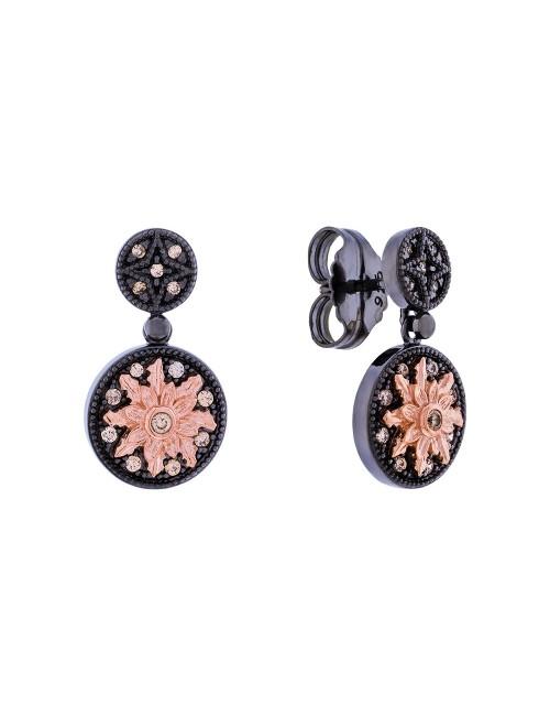 Pendientes R2 largos de plata negra y Eguzkilore rosa con circonitas