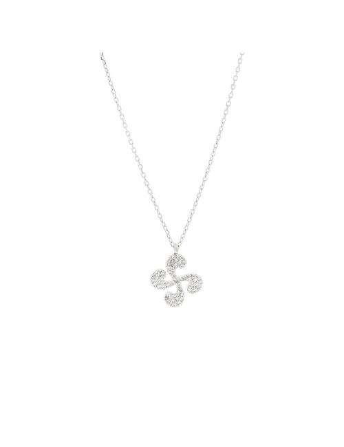 Colgante Lauburu y cadena Oro Blanco y Diamantes