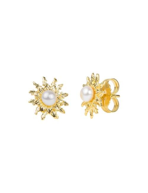 Pendientes 14mm Perla Cultivada Dorado