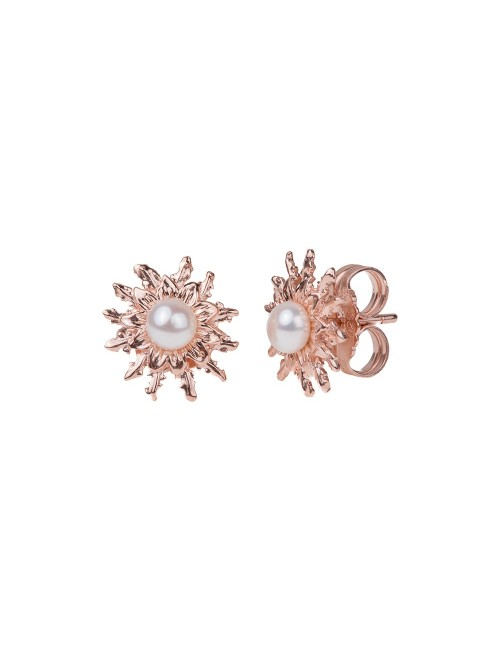 Pendientes 14mm Perla Cultivada Rosa