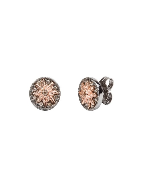 Pendientes R2 de plata negra y Eguzkilore de plata rosa con circonitas