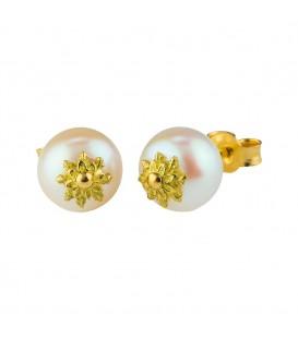 Pendientes Oro Amarillo y Perla Cultivada Joyerías Eguzkilore