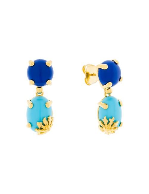 Pendientes Rania de plata dorada con piedras azules