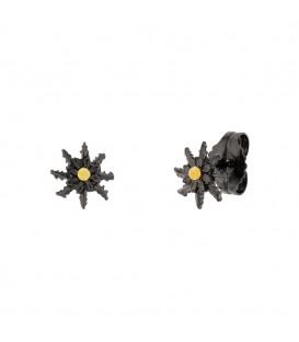 Pendientes Eguzkilore 11mm Rutenio Centro Dorado