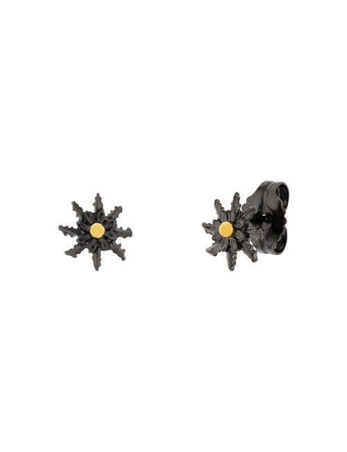 Pendientes Eguzkilore Plata Negra y Dorada 12mm