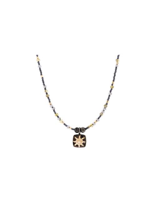 Collar Eguzkilore Plata Negro y Dorado cadena semirigida