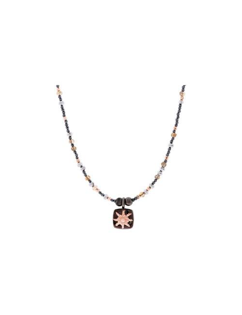 Collar Q2 de Plata Negra con Eguzkilore en Plata Rosa