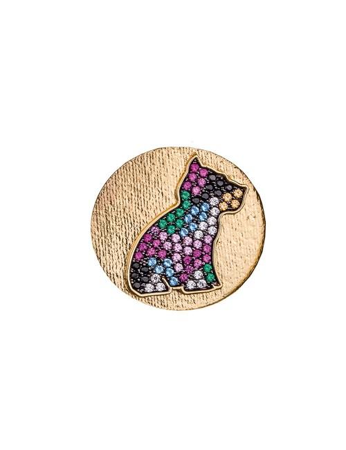 Moneda Puppy Plata Dorada Piedras colores
