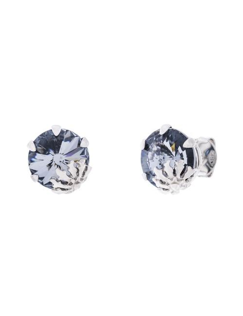 Pendientes Queen 3 de plata y cristal de Swarovski azul cobalto