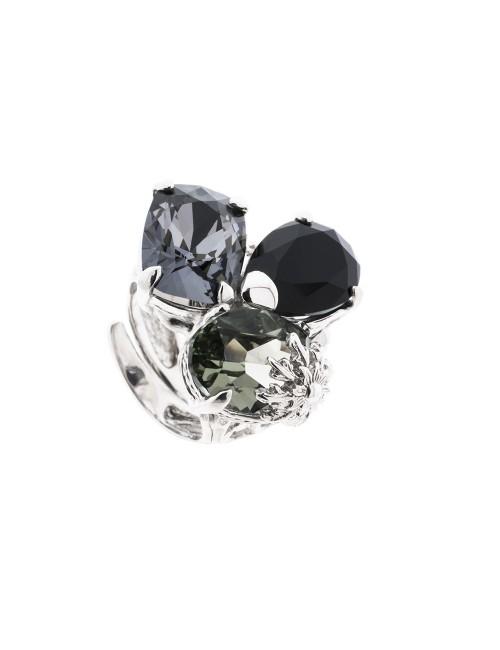Anillo Queen 3 de plata y cristales de Swarovski azul cobalto, negro y gris antracita