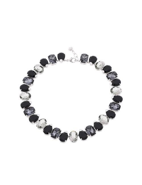 Gargantilla Queen 3 de plata y cristales Swarovski azul cobalto, negro y gris antracita