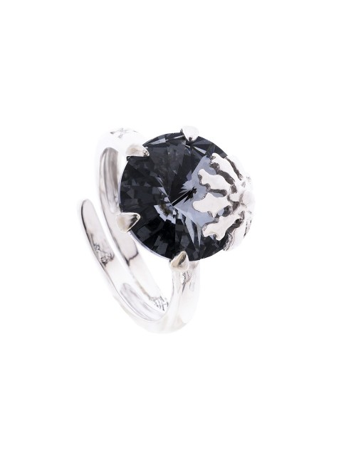 Anillo Queen 3 de plata y cristal de Swarovski azul cobalto