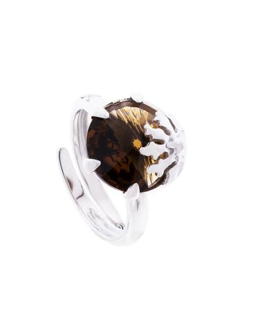 Anillo Queen 3 de plata y cristal de Swarovski marrón citrino