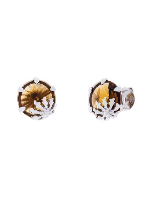 Pendientes Queen 3 de plata y cristal de Swarovski marrón citrino