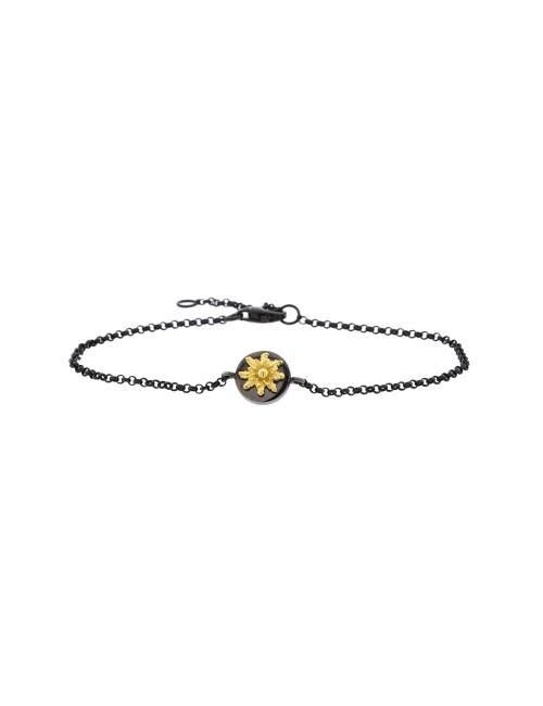Pulsera R-Chic Eguzkilore con cadena de Plata Negra y Dorado