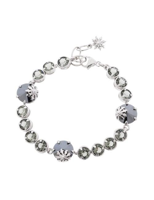 Pulsera Queen 3 de plata y cristales Swarovski azul y gris