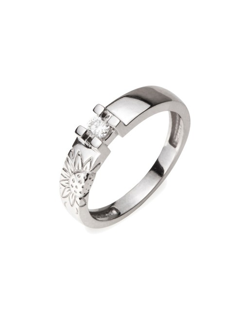 Sortija de Compromiso Solitario y Eguzkilore Grabado oro blanco y diamante Pedida y Boda