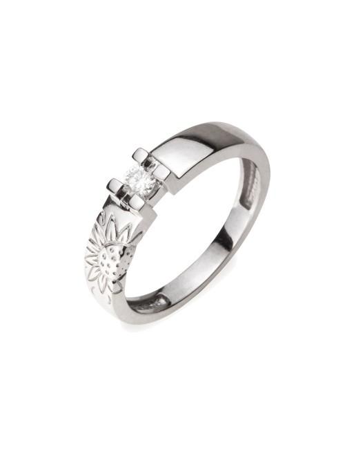 Sortija de Compromiso de Oro Blanco y diamante con Eguzkilore Grabado