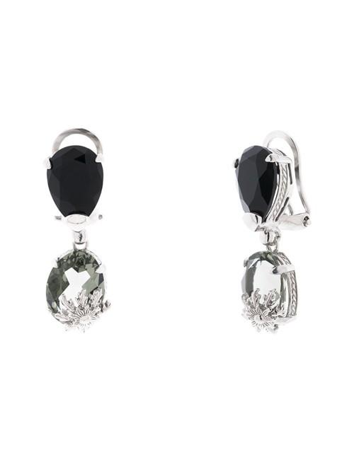 Pendientes Queen 3 largos de plata y cristales Swarovski azul y negro