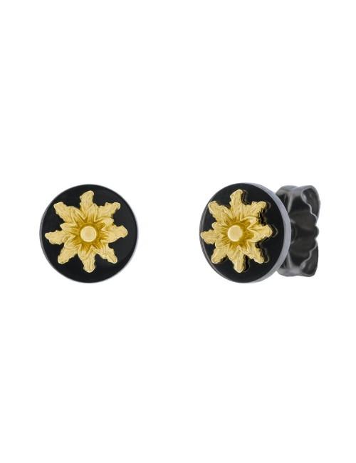 Pendientes R-Chic Eguzkilore redondos de Plata Negra y Dorada
