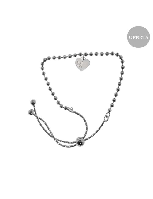 Pulsera de Plata Negra con Corazón Personalizable