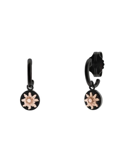 Pendientes R-Chic Eguzkilore aro de Plata Negra y Rosa