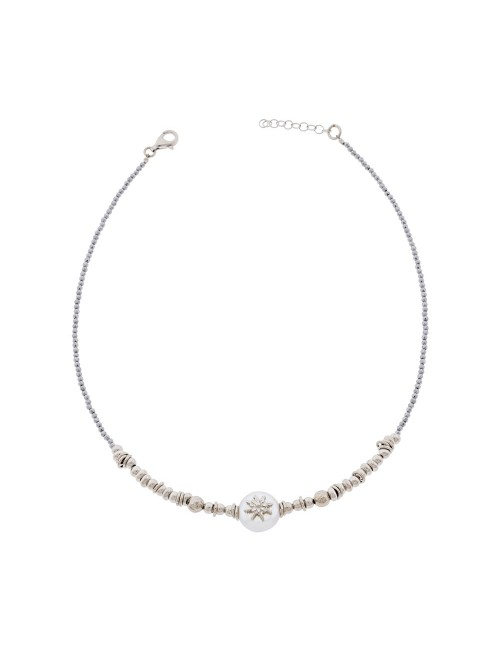 Colgante Eguzkilore Plata Perla culeivada con cadena semirigida
