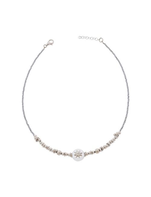 Collar Eguzkilore semirígido de Plata y Perla Cultivada