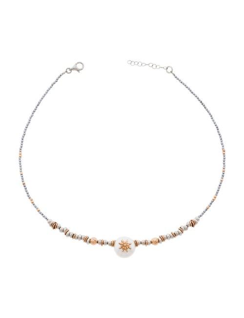 Collar Eguzkilore semirígido de Plata Rosa y Perla Cultivada
