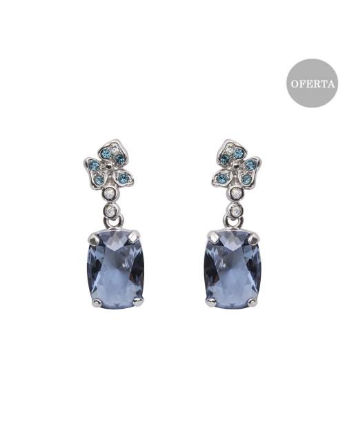 Pendientes Mari Lore de plata y cristal de Swarovski azul