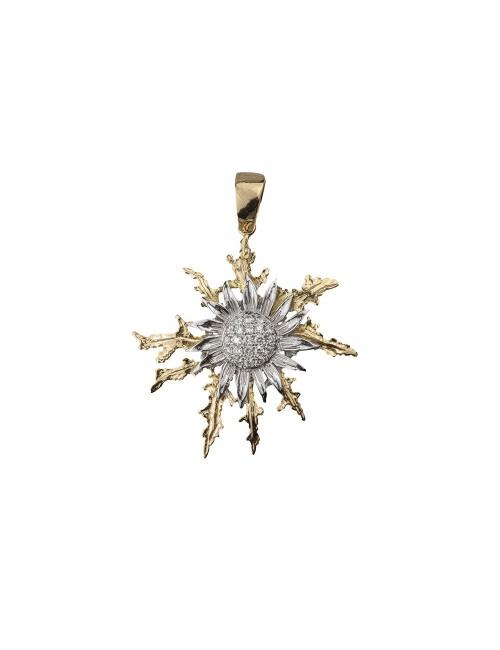 Colgante Eguzkilore de Oro Bicolor con Diamantes | Edición Limitada
