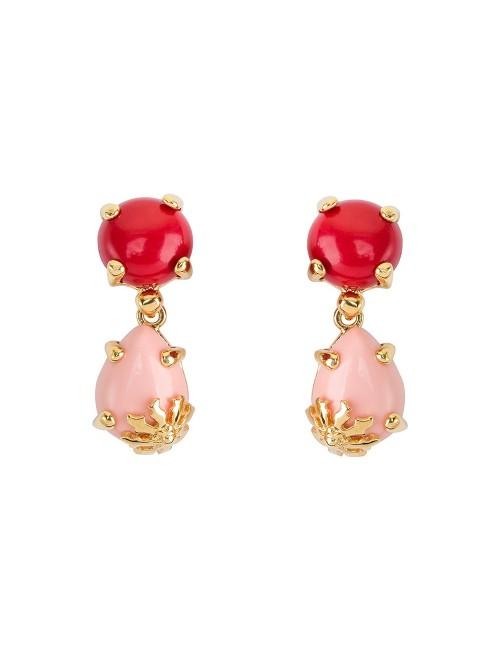Pendientes Rania de plata dorada con piedras roja y rosa